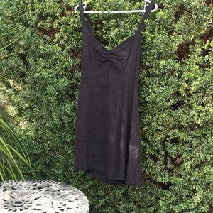 Black, light weight ruched front minidress